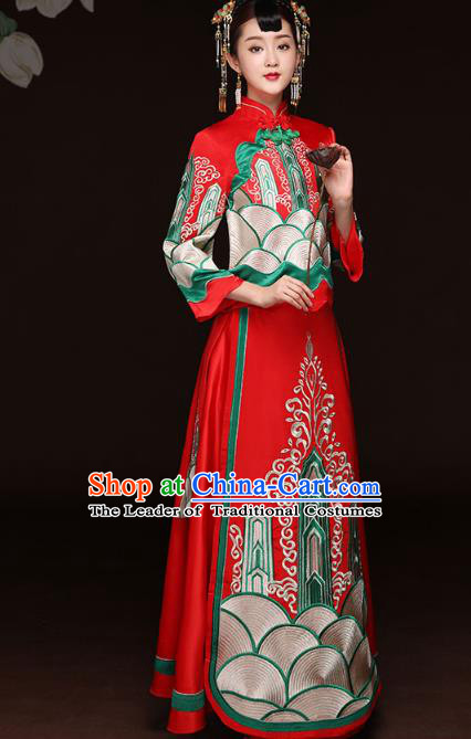 Traditional Ancient Chinese Wedding Costume Handmade Delicacy Embroidery Bride XiuHe Suits Red Full Dress, Chinese Style Hanfu Wedding Toast Cheongsam for Women
