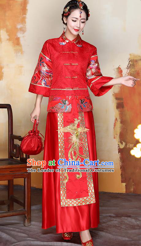 Traditional Ancient Chinese Wedding Costume Handmade Delicacy Embroidery Phoenix Middle Sleeve XiuHe Suits, Chinese Style Hanfu Wedding Toast Cheongsam for Women