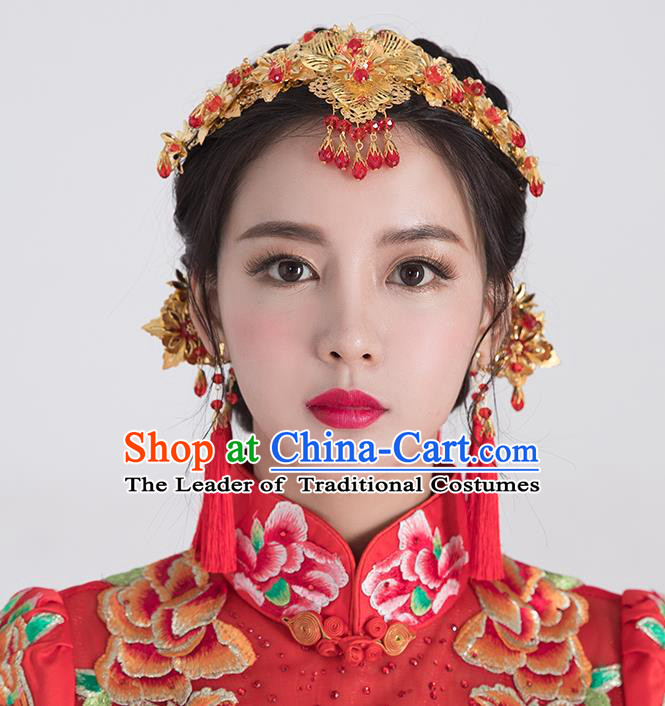 Traditional Handmade Chinese Ancient Classical Hair Accessories Complete Set Bride Wedding Red Beads Tassel Hair Clasp, Xiuhe Suit Hair Jewellery Hair Fascinators Hairpins for Women