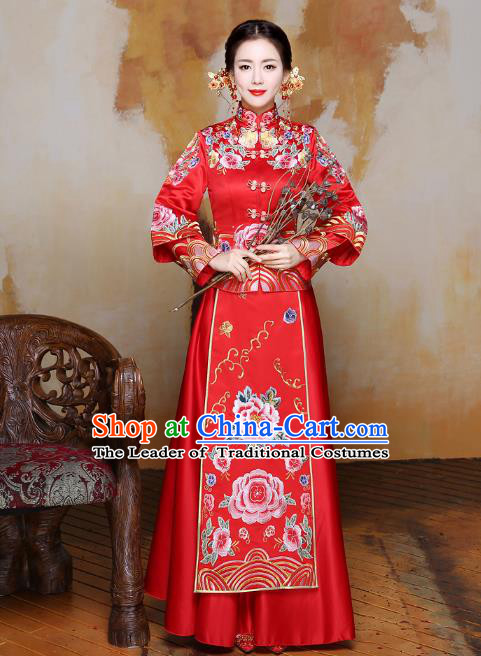Traditional Ancient Chinese Wedding Costume Handmade Delicacy XiuHe Suits Embroidery Peony Bottom Drawer, Chinese Style Hanfu Wedding Bride Toast Cheongsam for Women