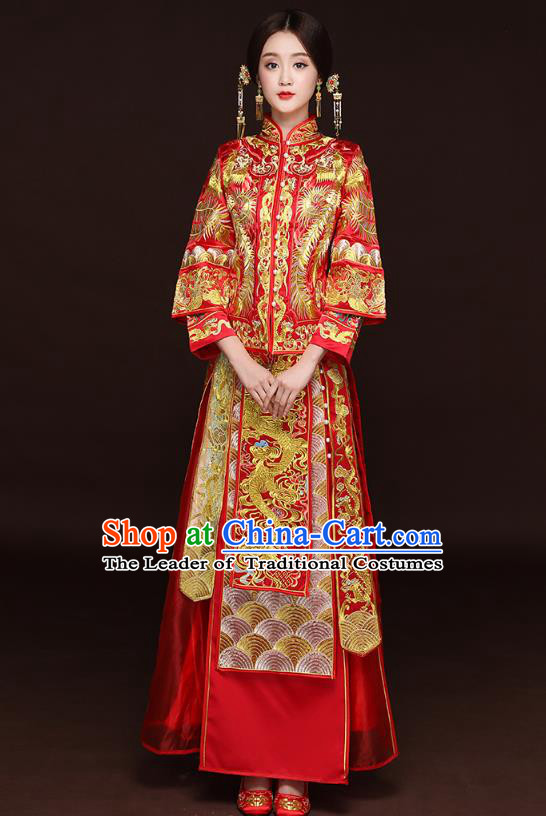 Traditional Ancient Chinese Wedding Costume Handmade Delicacy XiuHe Suits Embroidery Phoenix Cheongsam Bottom Drawer, Chinese Style Hanfu Wedding Bride Hanfu Clothing for Women