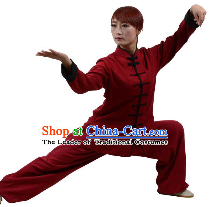 Top Kung Fu Linen Costume Martial Arts Costume Kung Fu Training Clothing, Tai Ji Plated Buttons Wine Red Uniform Gongfu Wushu Clothing for Women for Men