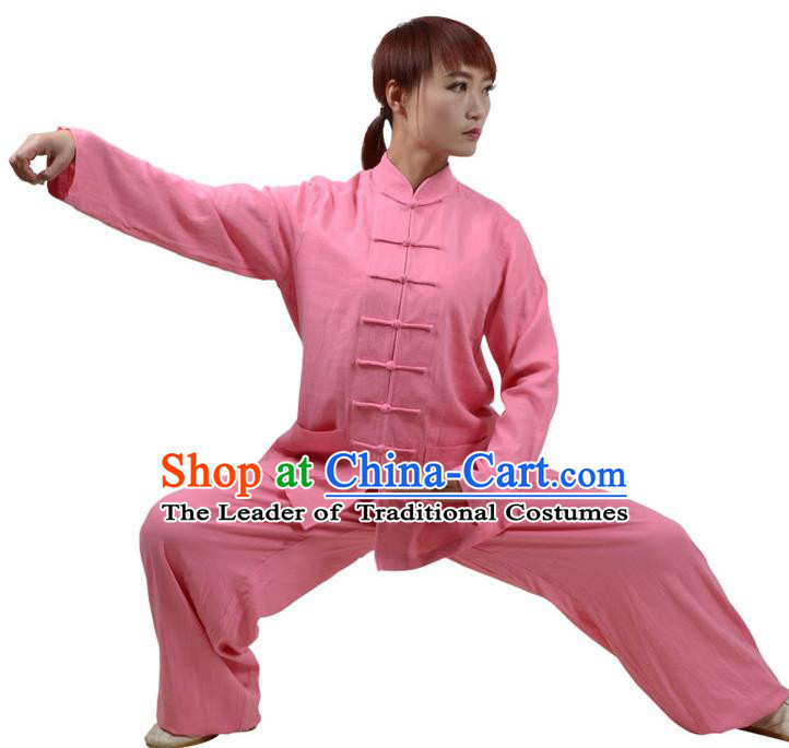 Top Kung Fu Linen Costume Martial Arts Costume Kung Fu Training Clothing, Tai Ji Plated Buttons Peach Pink Uniform Gongfu Wushu Clothing for Women for Men