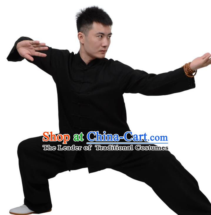 Top Kung Fu Linen Costume Martial Arts Costume Kung Fu Training Clothing, Tai Ji Plated Buttons Black Uniform Gongfu Wushu Clothing for Women for Men