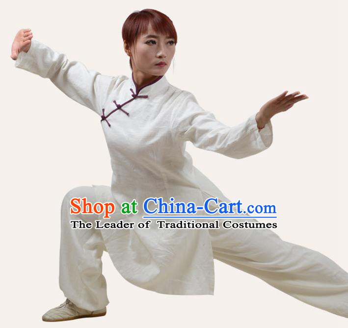 Top Grade Linen Martial Arts Costume Kung Fu Training Slant Opening Plated Buttons Clothing, Tai Ji White Uniform Gongfu Wushu Costume for Women for Men