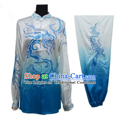 Top Grade Martial Arts Costume Kung Fu Training Gradient Blue Clothing, Tai Ji Embroidery Dragon Long Fist Uniform Gongfu Wushu Costume for Women for Men