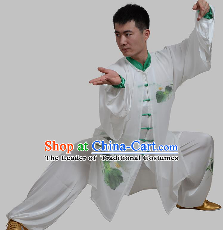 Top Grade China Martial Arts Costume Kung Fu Training Ink Painting Lotus Clothing, Chinese Tai Ji White Uniform Gongfu Wushu Costume for Men