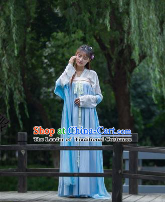 Traditional Ancient Chinese Young Lady Costume Blouse and Skirt, Elegant Hanfu Clothing Chinese Tang Dynasty Palace Maiden Embroidered Dress for Women