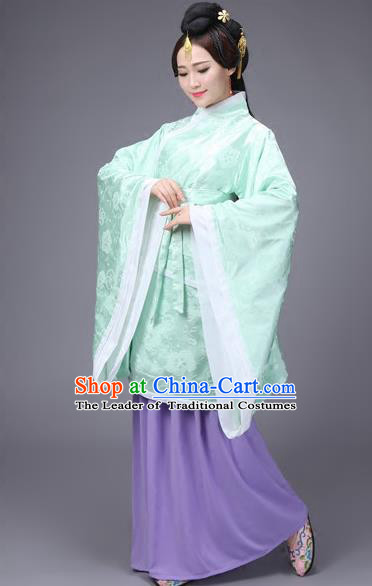 Traditional Ancient Chinese Imperial Consort Fairy Costume Curve Bottom, Elegant Hanfu Clothing Chinese Han Dynasty Imperial Concubine Embroidered Dress for Women