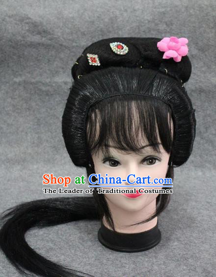 Traditional Handmade Chinese Ancient Classical Hair Accessories Peking Opera Young Lady Wig Sheath, China Beijing Opera Hua Tan Headgear
