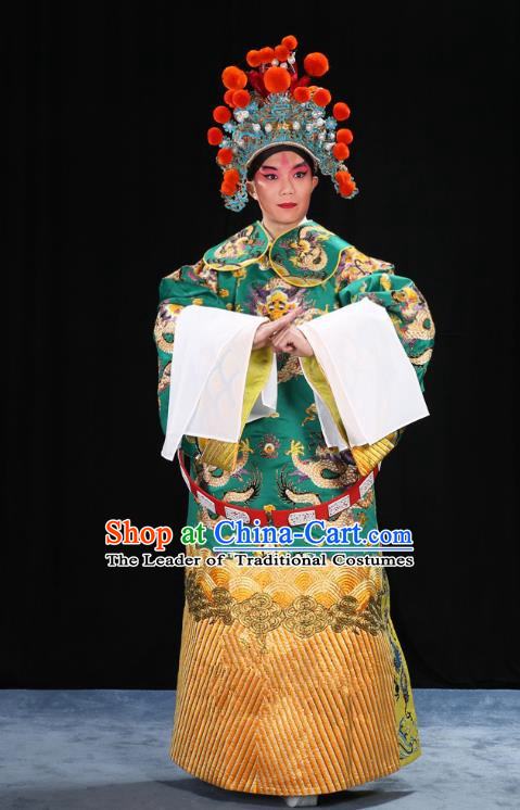 Top Grade Professional Beijing Opera Emperor Costume General Green Embroidered Robe and Belts, Traditional Ancient Chinese Peking Opera Royal Highness Embroidery Dragons Clothing