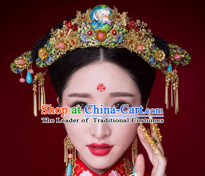 Traditional Handmade Chinese Ancient Classical Hair Accessories Barrettes Xiuhe Suit Cloisonne Phoenix Coronet Complete Set, Hanfu Hairpins Hair Fascinators for Women