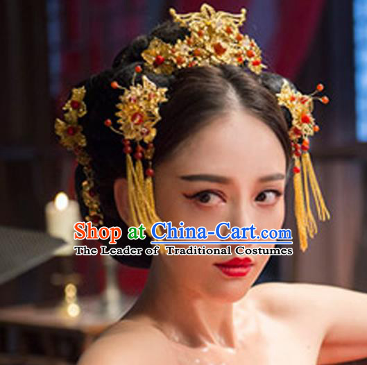 Traditional Handmade Chinese Ancient Classical Hair Accessories Barrettes Xiuhe Suit Golden Tassel Step Shake Phoenix Coronet, Hanfu Hairpins Hair Fascinators for Women