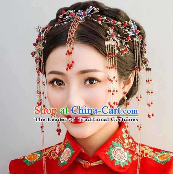 Traditional Handmade Chinese Ancient Classical Hair Accessories Barrettes Xiuhe Suit Cheongsam Blueing Tassel Hair Clasp Complete Set, Hanfu Hairpins Hair Fascinators for Women