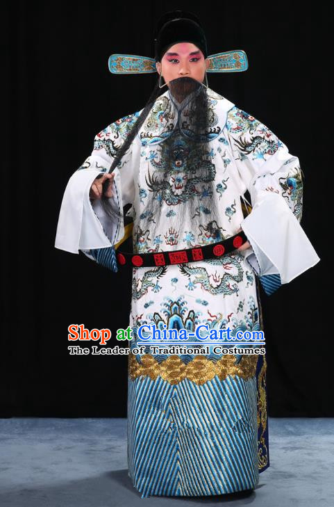 Top Grade Professional Beijing Opera Emperor Costume General White Embroidered Robe and Belts, Traditional Ancient Chinese Peking Opera Royal Highness Embroidery Dragons Clothing