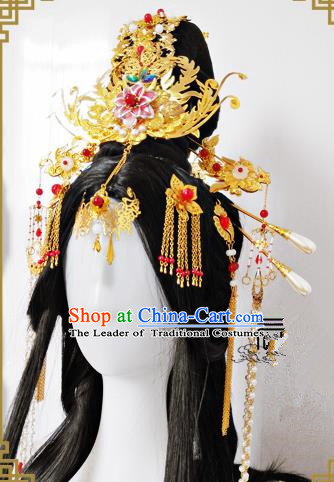 Traditional Handmade Chinese Ancient Classical Hair Accessories Complete Set Phoenix Coronet, Hairpins Hair Sticks Hair Jewellery Hair Fascinators for Women