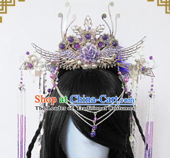 Traditional Handmade Chinese Ancient Classical Princess Hair Accessories Complete Set Palace Lady Phoenix Coronet, Wedding Hairpins Hair Sticks Hair Jewellery Hair Fascinators for Women