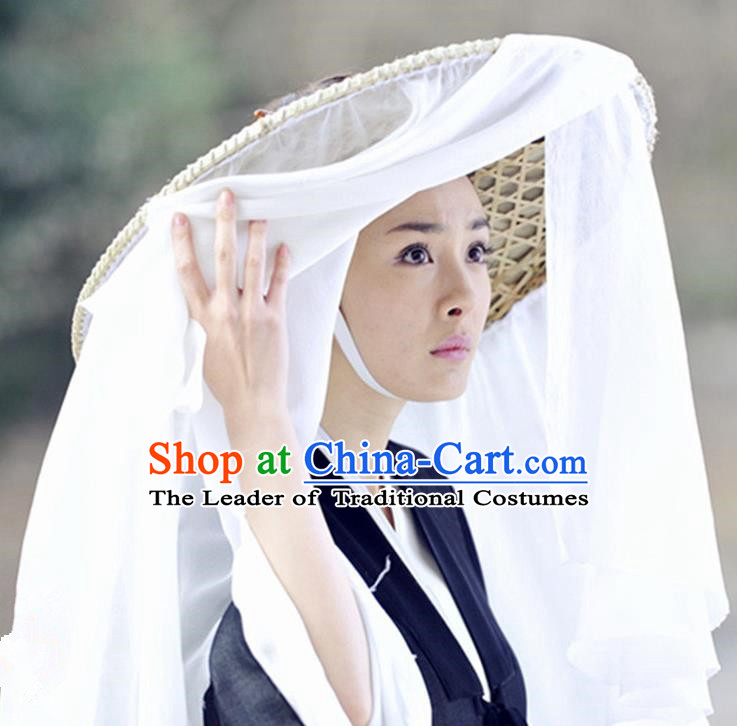 Traditional Handmade Chinese Ancient Swordswoman Hat Accessories, China Hanfu Chivalrous Women White Bamboo Hat