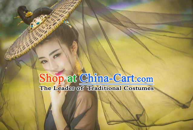 Traditional Handmade Chinese Ancient Swordswoman Black Veil Hat Accessories, China Hanfu Chivalrous Women Bamboo Hat