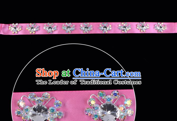 Traditional Beijing Opera Diva Hair Accessories Pink Crystal Headband, Ancient Chinese Peking Opera Hua Tan Hair Clasp Headwear