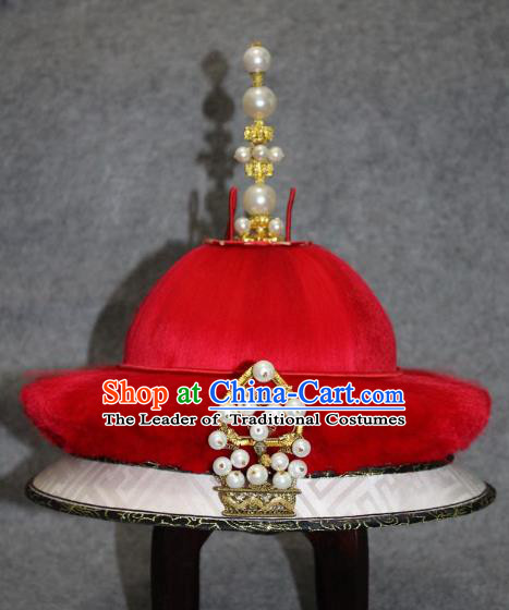 Traditional Handmade Chinese Ancient Classical Hair Accessories Peking Opera Emperor Hat, China Beijing Opera Qing Dynasty Manchu Majesty Headwear