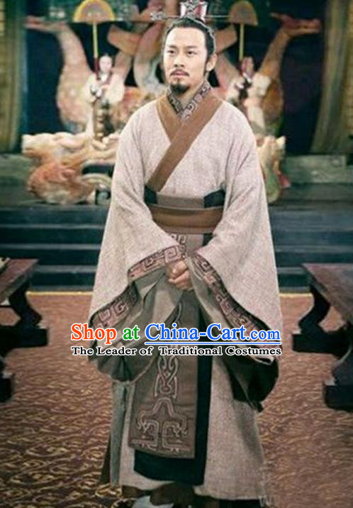 Traditional Chinese Ancient Minister Chancellor Costume, Elegant Hanfu Clothing Chinese Ancient Qin Dynasty Prime Minister Embroidery Robe Clothing
