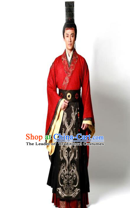 Traditional Chinese Ancient Qin Dynasty Emperor Embroidered Wedding Costume, China Han Dynasty Majesty Embroidery Hanfu Red Robe Clothing