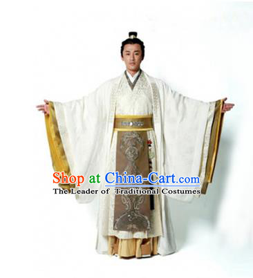 Traditional Chinese Ancient Qin Dynasty Prince Embroidered Costume, China Han Dynasty Majesty Embroidery Dragon Hanfu Robe Clothing