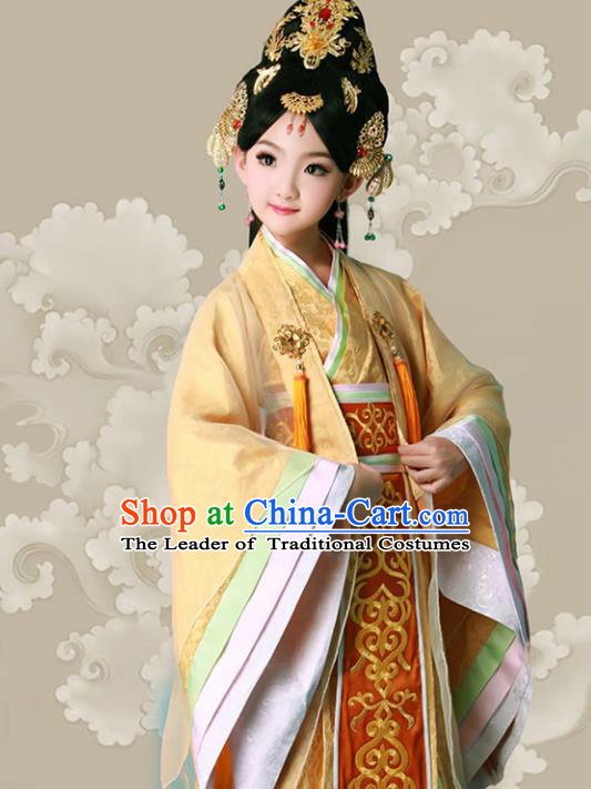 Traditional Ancient Chinese Imperial Consort Costume, Elegant Hanfu Clothing Chinese Tang Dynasty Princess Tailing Embroidered Clothing for Women