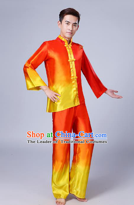 Traditional Chinese Classical Dance Yangge Fan Dance Costume, Folk Dance Drum Dance Uniform Yangko Red Clothing Complete Set for Men