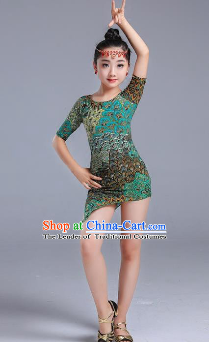 Traditional Chinese Classical Dance Jazz Latin Dance Costume, Chinese Classical Dance Uniform for Kids