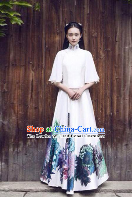 Traditional Chinese Ancient Nobility Lady Costume White Blouse and Skirt, Elegant Hanfu Clothing Chinese Republic of China Young Lady Embroidery Cheongsam Clothing