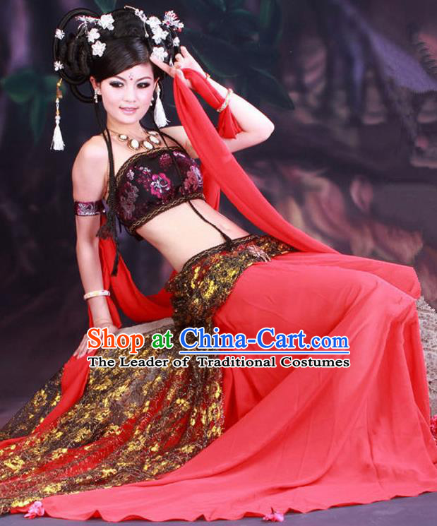 Traditional Ancient Chinese Dunhuang Flying Apsaras Dance Red Costume, Elegant Hanfu Clothing Chinese Palace Lady Fairy Clothing for Women
