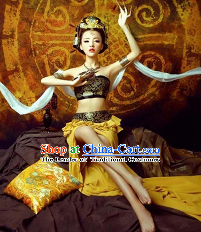 Traditional Ancient Chinese Dunhuang Flying Apsaras Dance Golden Costume, Elegant Hanfu Clothing Chinese Palace Lady Fairy Clothing for Women