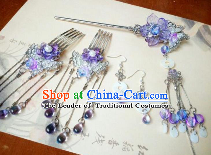 Traditional Chinese Ancient Classical Handmade Hair Accessories Purple Flowers Tassel Hair Comb Complete Set, Hanfu Hair Stick Hair Fascinators Hairpins for Women