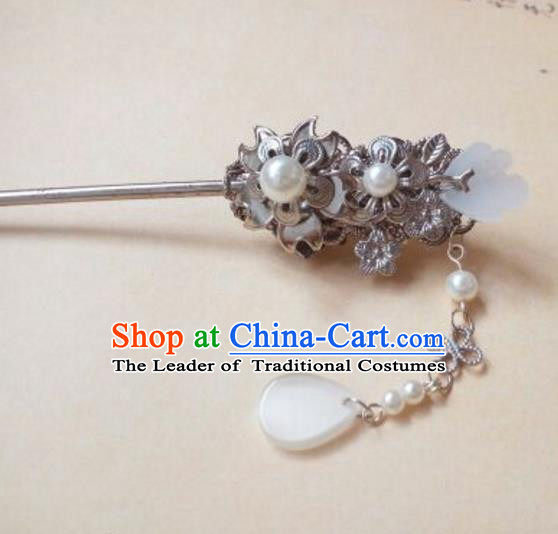 Traditional Chinese Ancient Classical Handmade Hair Accessories Palace Lady Jade Hairpin, Hanfu Hair Stick Hair Fascinators Hairpins for Women