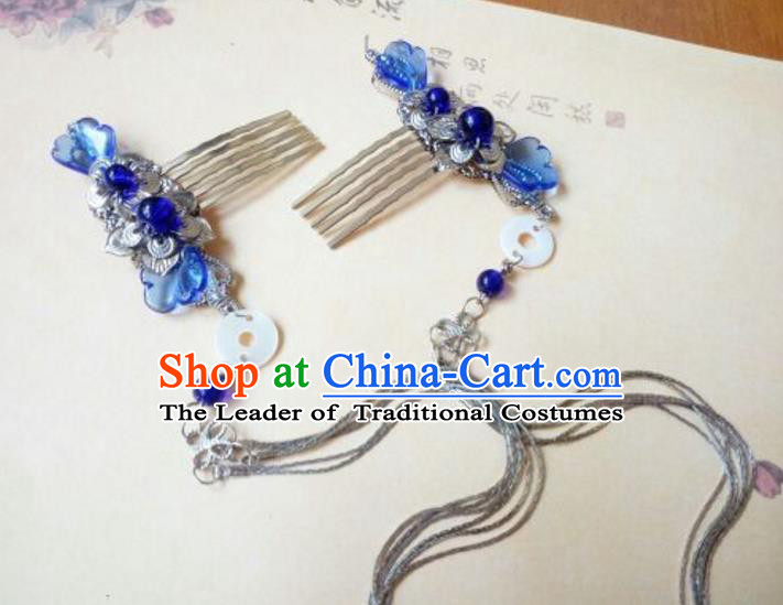 Traditional Chinese Ancient Classical Handmade Hair Accessories Barrettes Hairpin, Hanfu Blue Hair Comb Tassel Step Shake Hair Fascinators Hairpins for Women