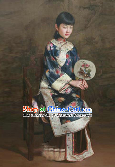 Traditional Ancient Chinese Republic of China Peeresses Costume Navy Xiuhe Suit, Elegant Hanfu Clothing Chinese Qing Dynasty Nobility Dowager Clothing for Women
