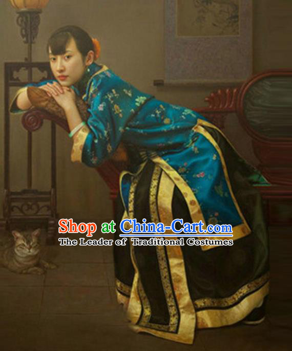 Traditional Ancient Chinese Republic of China Peeresses Costume Blue Xiuhe Suit, Elegant Hanfu Clothing Chinese Qing Dynasty Nobility Dowager Clothing for Women