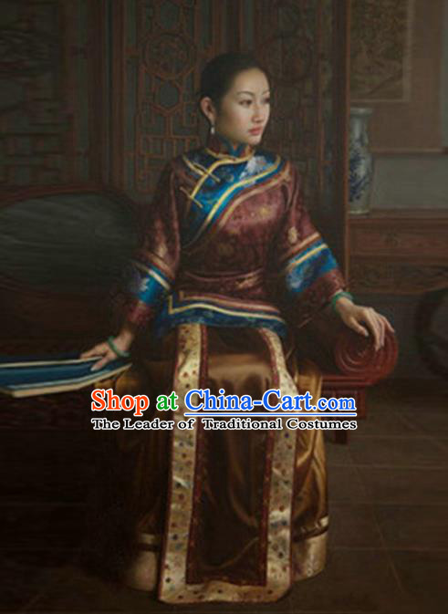Traditional Ancient Chinese Republic of China Peeresses Costume Amaranth Xiuhe Suit, Elegant Hanfu Clothing Chinese Qing Dynasty Nobility Dowager Clothing for Women