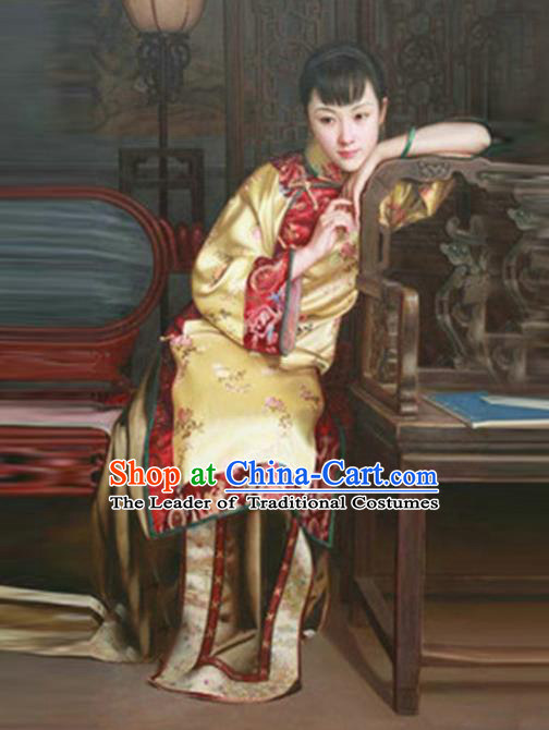 Traditional Ancient Chinese Republic of China Peeresses Costume Yellow Xiuhe Suit, Elegant Hanfu Clothing Chinese Qing Dynasty Nobility Dowager Clothing for Women