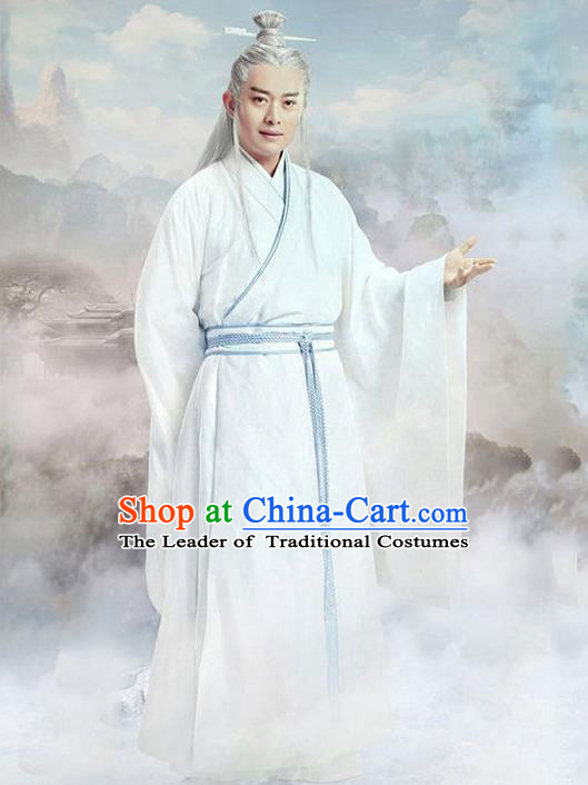 Traditional Chinese Ancient Taoist Priest Costume Swordsman Long Robe, Chinese Ancient Immortal Embroidery Clothing for Men