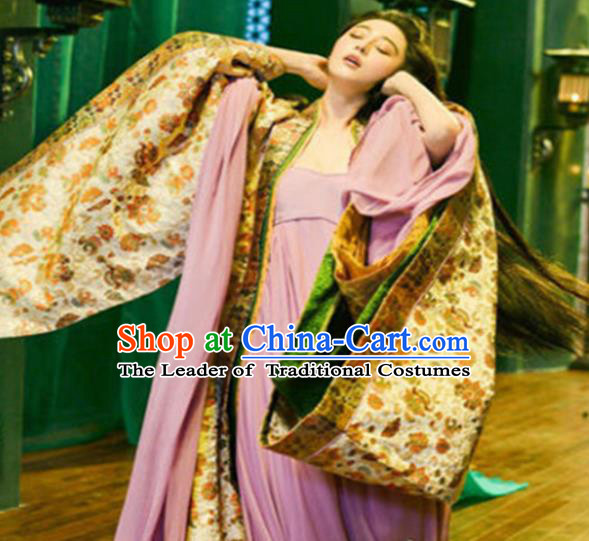 Traditional Ancient Chinese Costume Imperial Consort Dress, Elegant Hanfu Clothing Chinese Tang Dynasty Imperial Concubine Embroidered Clothing for Women