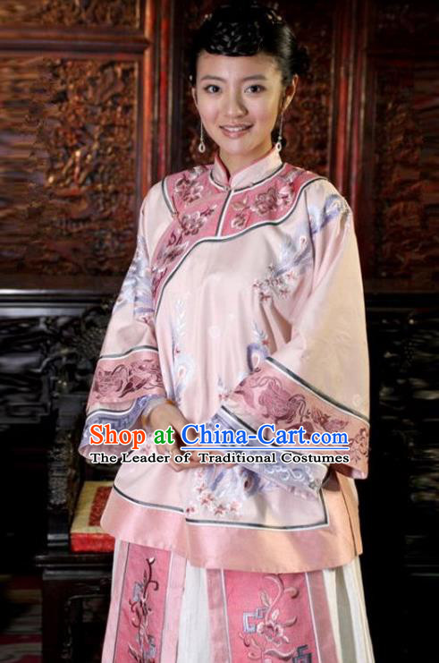 Traditional Ancient Chinese Republic of China Princess Costume Pink Xiuhe Suit, Elegant Hanfu Clothing Chinese Qing Dynasty Nobility Dowager Clothing for Women