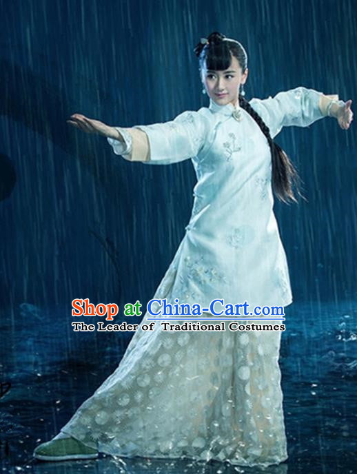 Traditional Ancient Chinese Martial Arts Swordswoman Costume Xiuhe Suit, China Republic of China Nobility Lady Embroidered Clothing