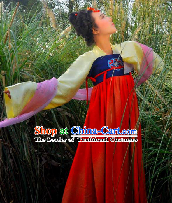 Traditional Ancient Chinese Imperial Princess Costume, Elegant Hanfu Clothing Chinese Tang Dynasty Palace Lady Embroidered Clothing for Women