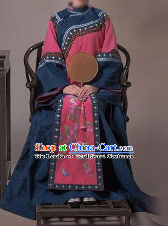 Traditional Ancient Chinese Republic of China Princess Costume Navy Xiuhe Suit, Elegant Hanfu Clothing Chinese Qing Dynasty Nobility Dowager Clothing for Women