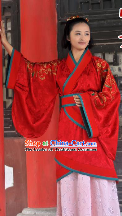 Traditional Ancient Chinese Imperial Princess Wedding Costume, Elegant Hanfu Clothing Chinese Han Dynasty Bride Embroidered Red Clothing