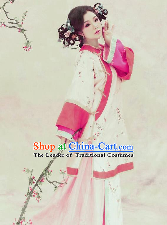 Traditional Ancient Chinese Republic of China Princess Costume Imperial Consort Xiuhe Suit, Elegant Hanfu Clothing Chinese Qing Dynasty Nobility Dowager Clothing for Women