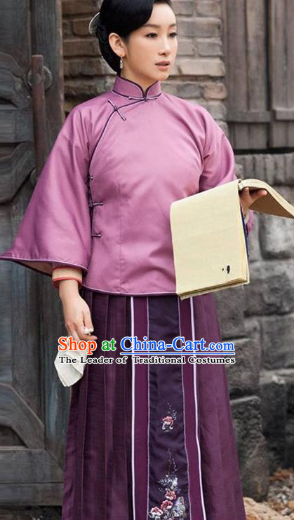 Traditional Ancient Chinese Republic of China Princess Costume Imperial Consort Purple Xiuhe Suit, Elegant Hanfu Clothing Chinese Qing Dynasty Nobility Dowager Clothing for Women